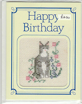 Crossed Stitched Greeting Card  - Birthday Card - Grey Tabby Cat In Flowers