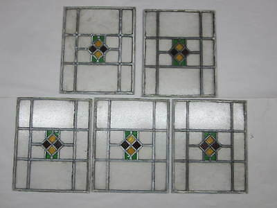 "STAINED GLASS Set of 5 Piece Matching Set 14""x17"" Architectural Detail & OLD"