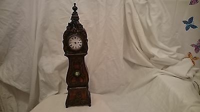 Antique Carved French Walnut Miniature Longcase Clock With Watch Movement
