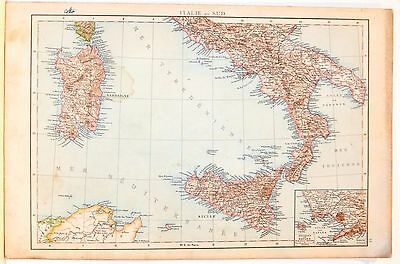 Carta geografica antica ITALIA MERIDIONALE SICILIA SARDEGNA 1880 Old antique map