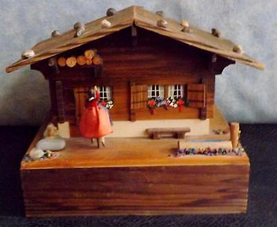 Vintage Wooden Chalet Musical Jewelry Trinket  Box Made in Germany