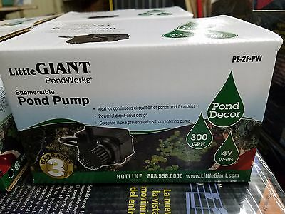 NEW  566611 Little Giant Submersible Pond  Pump PE-2F-PW, 300 GPH