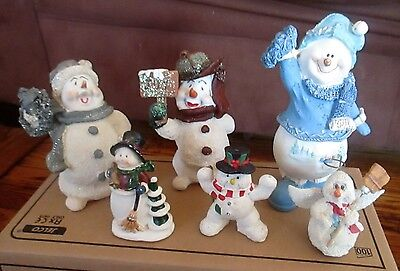 Lot of 6 Assorted Snowmen, Christmas Decorations