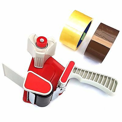 Hand Held Packing Tape Dispenser Gun 50mm Heavy Duty + Free Clear & Brown Tape