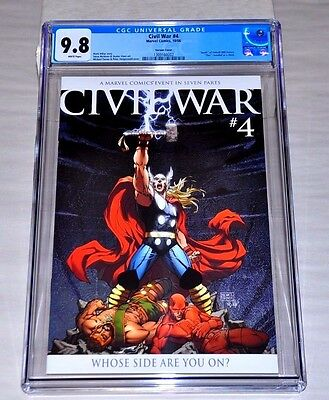Civil War 4 CGC 9.8 White Pages Michael Turner Color Variant (2006) Thor