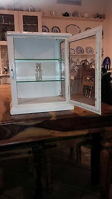 Vintage metal and glass medical cabinet