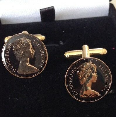 1976 Enamelled1/2p Coin Cufflinks.  Black/gold. 40th Birthday /Anniversary
