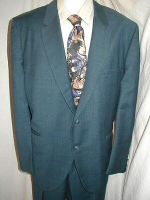 Vtg 60S Aquamarine Blue Sharkskin Ratpack Rocker Sinatra Mens Suit 46 41/30 Xl