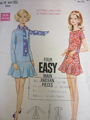 Vintage 1970's Butterick Low Waisted Dress Sewing Dressmaking Pattern