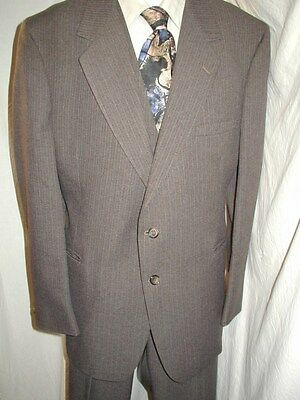 Vtg 70S 3 Piece Brown Pinstripe Gangster Zoot Suit Mens 46 40/30 Xl