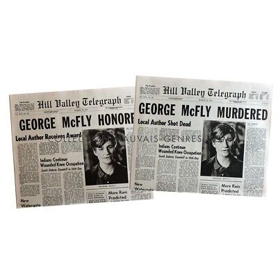 BACK TO THE FUTURE Newspapers Prop Replicas George McFly  15x21 in. USA - 1985 -