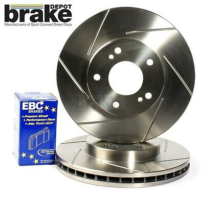 For Nissan 350Z Front Evora Grooved Brake Discs & Yellowstuff Pads - brembo