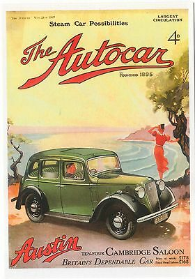 Austin 10-4 Cambridge 1937 MODERN postcard issued by Vintage Ad Gallery