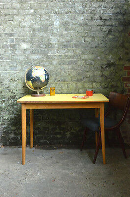 Vintage Mid Century Yellow Formica Table Dining Kitchen