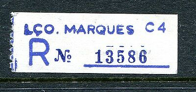 Lco Marques, Mozambique. An Early Scarce Blue Registration Label.