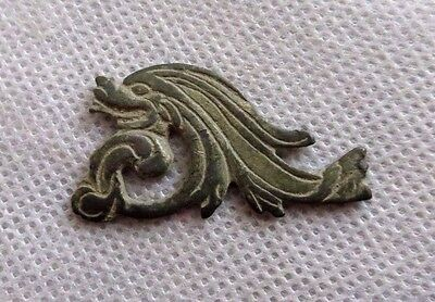"Ancient Viking Zoomorphic Bronze Applique.""dragon And Dolphin"""