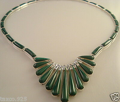 Taxco Mexican 950 Sterling Silver Malachite Necklace Mexico