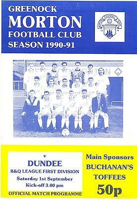 Greenock Morton v Dundee FC 1/9/1990 match programme First Division