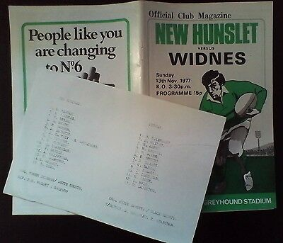 NEW HUNSLET v WIDNES (With Insert)  13/11/77  EXCELLENT