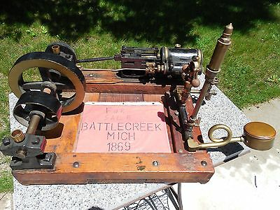 c1869 BATTLE CREEK MACHINERY CO.LIVE STEAM MILL ENGINE W/ WHISTLE&GOVERNOR RUNS