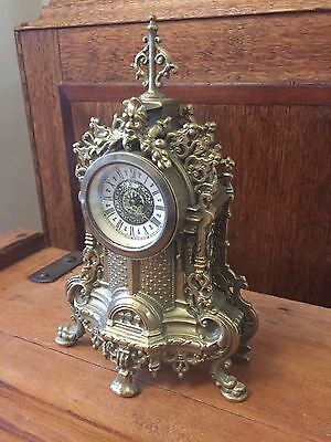Rare Vintage Gilt Brass Gothic Mantle Clock Mechanical Wind Up A.f.