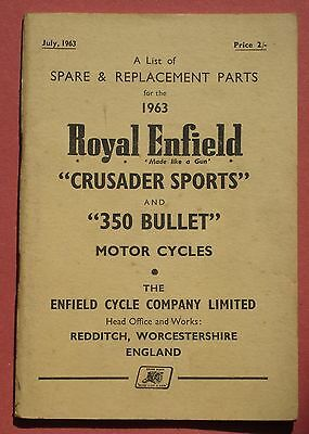 Genuine Royal Enfield illustrated parts book for 1963 350cc Bullet.