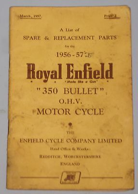 Genuine Royal Enfield illustrated parts book for 1956-7 350cc Bullet.