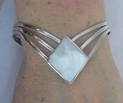 Modernist Sterling Silver Mother Of Pearl Cuff Bangle 925