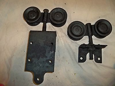 Lot of 2 Vintage Barn Door Rolling Hardware Pulley Architectural Salvage