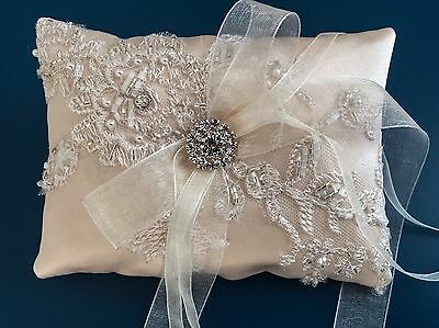 Golden Champagne Wedding Ring Pillow Cushion Holder Bearer Beaded Antique Lace