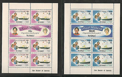 Tuvalu Charles & Diana Royal Wedding Set In Sheetlets As Issued