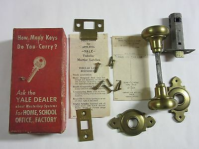 Vintage Brass Plated Yale Door Knob Latch Set w/ Box Instructions AR331