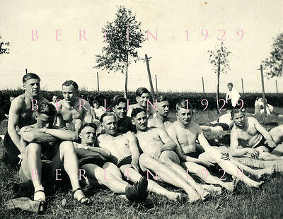 VINTAGE PHOTO  1937 Young Men Male Nude Soldiers Physique Speedo Bulge Gay Int