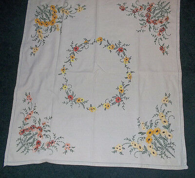 """Vintage Pale Green Tablecloth Hand Embroidered 31""""x33"""""""