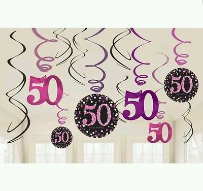 12 Sparkly Happy 50th Birthday Hanging Swirl Pink Black Party Decorations