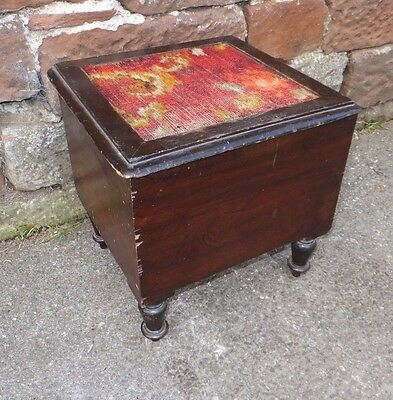 MAHOGANY Commode EMBROIDERED Lid UPCYCLE Sewing BOX Vintage For Rennovation