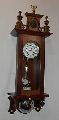 Quality MAHOGANY Cased Wall Clock WITH Chime On BELL & FINIAL Hermle 141-041