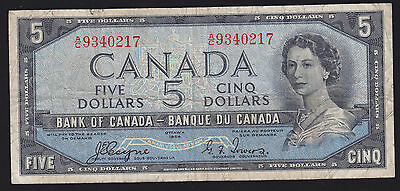 1954 Bank of Canada $5 - Devil's Face Note - Coyne/Towers S/N: A/C9340217
