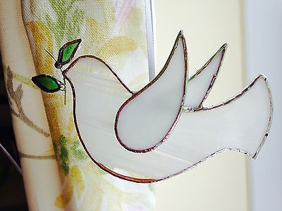 Handmade stained glass peace dove suncatcher hanging decoration gift