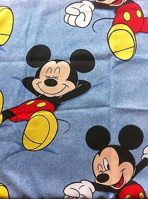 """Kids Window Curtains Mickey Mouse Print 32"""" x 34 1/2"""" Long (Each Panel) Cotton"""