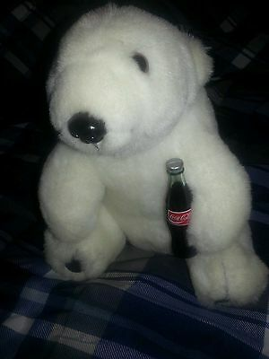 "Coca Cola Brand 7"" White Polar Bear Cub Plush w/Coke Bottle 1993 Edition"