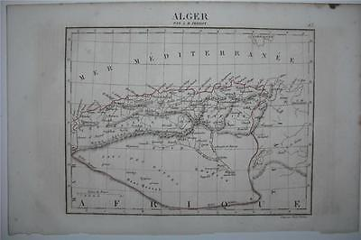 1837 ENGRAVED MAP: ALGERIA, Barbary. North Africa. By Perrot/Tardieu. Antique.
