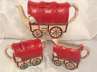 Sadler Collectable Novelty Teapot,sugar,milk,1950's Wagon Train Great Condition