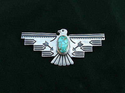 NAVAJO STERLING & TURQUOISE THUNDERBIRD PIN ~ 9.5 grams ~ by ALBERT JAKE withCoA