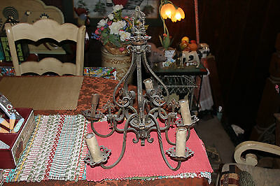 Antique Gothic Medieval Art Deco 5 Light Chandelier-Religious Crosses-Metal
