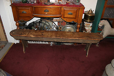 "Antique Early American Pine Wood Church School Bench-78"" Long-Country Decor"