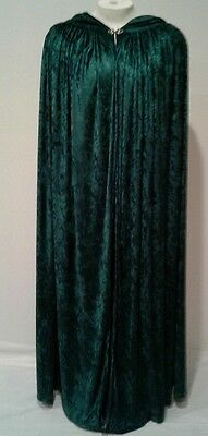 Dk.Green Hooded Velvet Cloak Pagan Gothic Wicca Medieval Cosplay-Custom made M/L