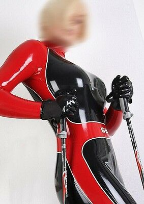 Latex Rubber Catsuit Black and Red Bodysuit Sports Full-body Suit Size:XS-XXL