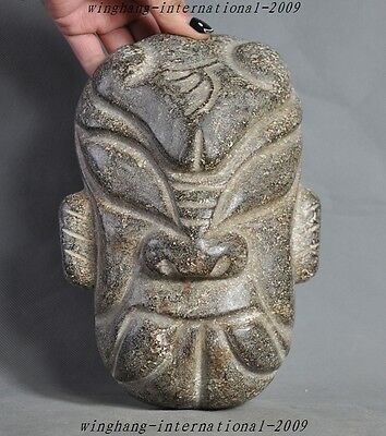"""9"""" rare Chinese hongshan culture old jade hand-carved people face statue masks"""