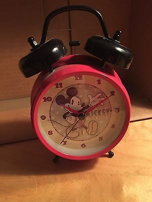 Vintage Mickey Mouse Alarm Clock red with black bells